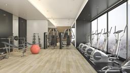 تجهیزات بدنسازی 3d rendering modern wood black decor gym fitness with nice view 256