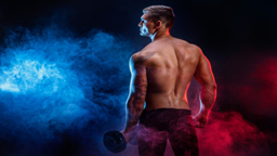 تجهیزات بدنسازی closeup handsome power athletic man bodybuilder resting while stand with dumbbell fitness muscular body dark smoke background perfect male awesome bodybuilder tattoo posing 256