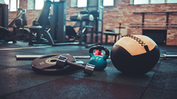تجهیزات ورزشی disassembled barbell medicine ball kettlebell dumbbell lying floor gym sports equipment workout with free weight functional training 175682 47 256